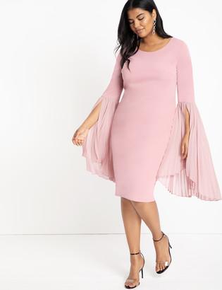 ELOQUII Pleated Flare Sleeve Dress