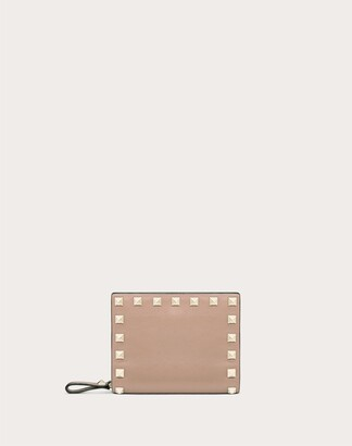 Valentino Small Rockstud Calfskin Wallet Women Poudre 100% Pelle Di Vitello - Bos Taurus OneSize