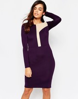 Amy Childs Camilla Midi DRess with Asymetric Mesh Panel Detail