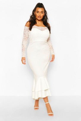 boohoo Plus Lace Bardot Fishtail Maxi Dress