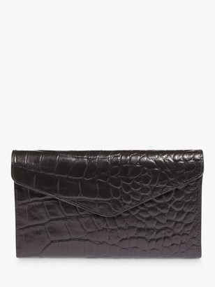 Phase Eight Violet Croc Effect Leather Fold Over Purse, Black