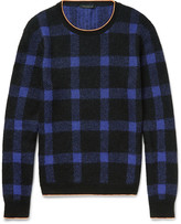 Christopher Kane - Slim-fit Neon-tipped Checked Knitted Sweater