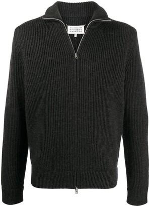 Maison Margiela Zip-Front Knitted Cardigan