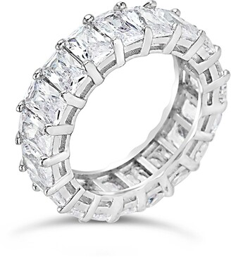 Sterling Forever Sterling Silver Emerald CZ Eternity Band
