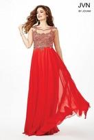 Jovani Sheer Neckline Beaded Chiffon Prom Dress JVN36770