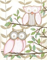 The Well Appointed House Renditions by Reesa Two Pink Owls Framed Childs Wall Art