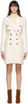 Balmain White Wool Serge Double-Breasted Coat