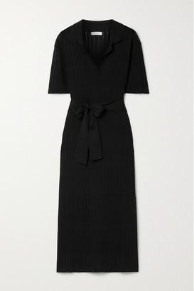 CASASOLA Net Sustain Paulina Ribbed Cotton And Mulberry Silk-blend Midi Shirt Dress - Black