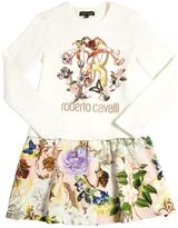 Roberto Cavalli Floral Printed Cotton Sweatshirt Dress