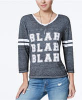 Freeze 24-7 Juniors' Blah Graphic Varsity T-Shirt