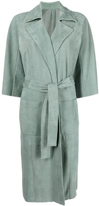 Drome Belted-Waist Single-Breasted Suede Coat