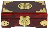 Oriental Furniture Best Simple Elegant Beautiful Gift Idea for Her Woman Girl Female, 6-Inch Rosewood Jewelry Box with Brass Double Happiness Symbol