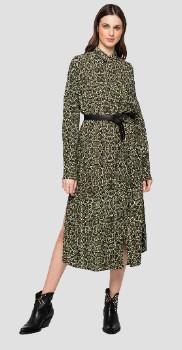 Replay Snake Print Shirt Dress Green - xsmall
