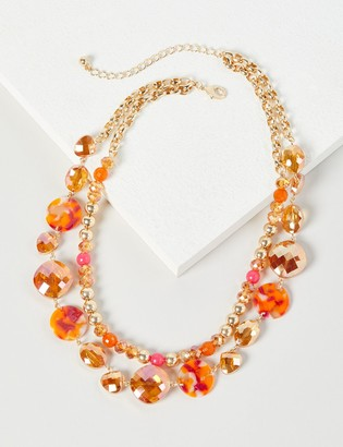 Lane Bryant Layered Faceted Bead & Resin Necklace