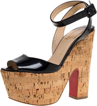 Christian Louboutin Black Patent Leather Super Dombasle Cork Platform Ankle Strap Sandals Size 38