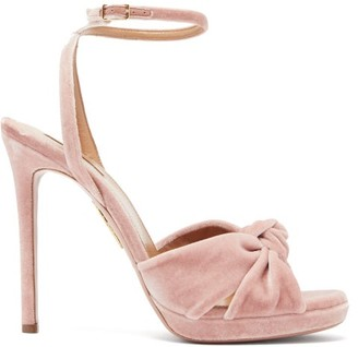 Aquazzura Chance Knotted Velvet Sandals - Light Pink