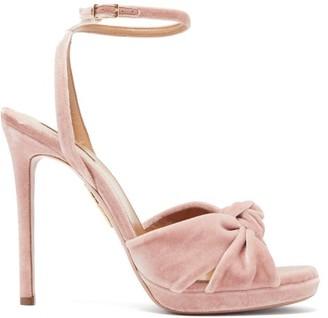 Aquazzura Chance Knotted Velvet Sandals - Womens - Light Pink