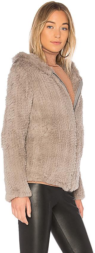 Adrienne Landau Knit Rabbit Hoodie