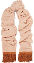 Autumn Cashmere Fringed Suede-Trimmed Cashmere Scarf