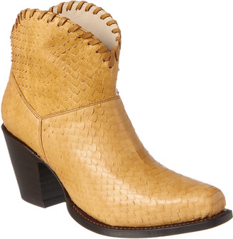 Alice + Olivia Kaira Python-Embossed Leather Bootie
