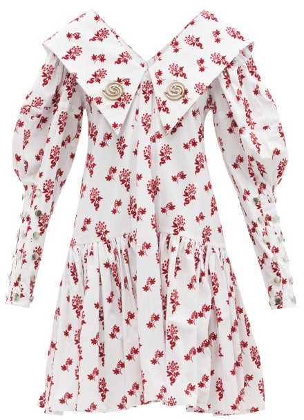 Chopova Lowena Floral-flocked Organic-cotton Dress - White Print