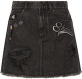 Marc Jacobs Embellished Appliquéd Denim Mini Skirt - Black