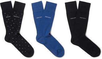 HUGO BOSS Three-Pack Stretch Cotton-Blend Socks