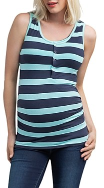 Nom Maternity Striped Snap-Front Tank