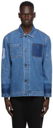 McQ Blue Denim Unfolded Shirt Jacket