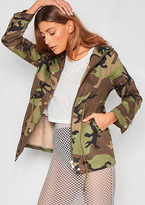 Missy Empire Halle Green Camo Hooded Jacket