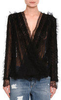 Ermanno Scervino Draped Lace V-Neck Blouse