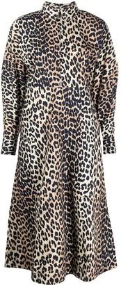 Ganni Leopard-Print Shirt Dress