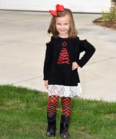 Beary Basics Red Christmas Tree Tunic & Plaid Leggings - Toddler & Girls