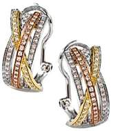 Crislu Highway Bands 18k & Platinum Plated Cz Drop Earrings.