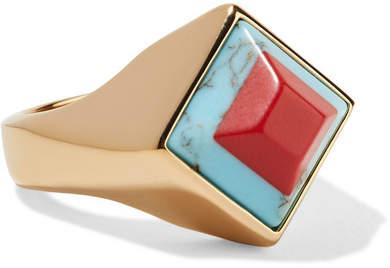 Fendi Gold-tone Resin Ring