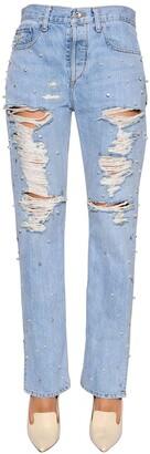 Jonathan Simkhai Boyfriend Embellished Ripped Denim Jeans