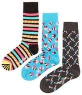 Happy Socks Knit Cotton Intarsia Socks (3 PK)