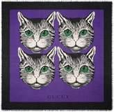 Gucci Mystic Cat print modal silk shawl