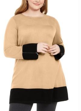 Alfani Plus Size Colorblocked Ottoman Tunic Sweater, Created for Macy's