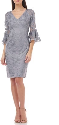 JS Collections Bell Sleeve Soutache Cocktail Dress
