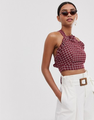 Fashion Union ruffle front crop top with cross back in check-Red