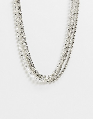 Weekday Ball multirow necklace in silver