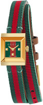 Gucci Women's Swiss G Frame Green-Red-Green Web Double Wrap Nylon Strap Watch 14x18mm YA128527