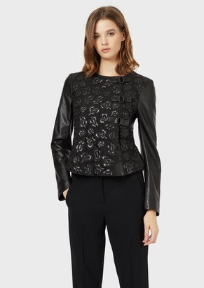 Emporio Armani Lambskin Nappa Leather Jacket With Floral Organza Embroidery