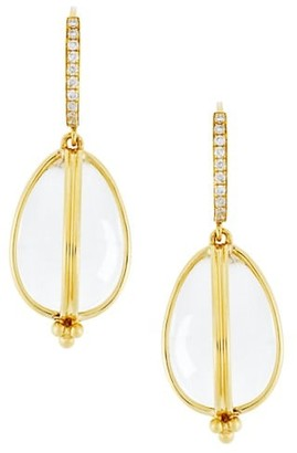 Temple St. Clair Classic Rock Crystal, Diamond & 18K Yellow Gold Amulet Drop Earrings