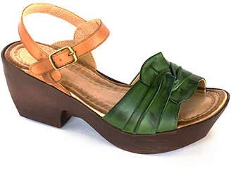 Jafa JAFA Women's Sandals Green/Camel - Green Camel Floral-Knot Wedge Sandal - Women