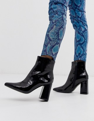 Public Desire Empire black patent block heeled ankle boots
