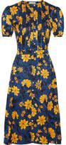 Altuzarra Madelena Pleated Floral-print Silk-jacquard Dress - Blue