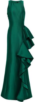 Badgley Mischka Ruffled Twill Gown