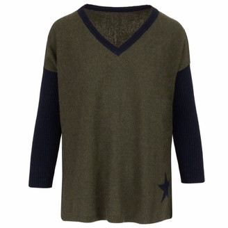 At Last... Olive & Navy Star Cashmere Sweater